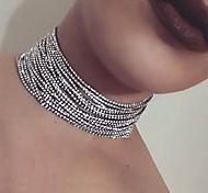 Women's Choker Necklaces Crystal Round Acrylic Imitation Diamond Alloy Circle Vintage Bohemian Adjustable Personalized Hip-Hop