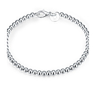 Women's Girls' Chain Bracelet Friendship Fashion Vintage Silver Plated Round Jewelry For Wedding Party Special Occasion Anniversary