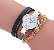 Women's Bracelet Watch Simulated Diamond Watch Quartz Leather Band Casual Black White Blue Red Brown