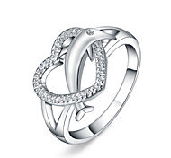 Ring Euramerican Silver Plated Dolphin Heart Jewelry For Daily 1pc