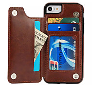 For iPhone X iPhone 8 Case Cover Card Holder with Stand Back Cover Case Solid Color Hard PU Leather for Apple iPhone X iPhone 8 Plus
