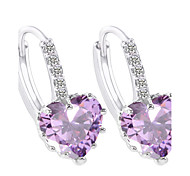 cheap -Women's AAA Cubic Zirconia Cubic Zirconia Hoop Earrings - Heart White Dark Blue Purple Fuchsia Geometric Earrings For Party Daily Casual