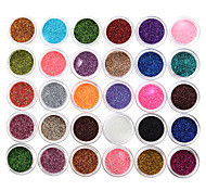 cheap -30Pcs Mixed Color Eyeshadow Powder Glitter Mineral Spangle Sequins Nail Art Decorations