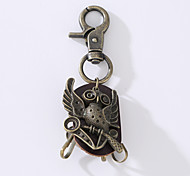 The New Punk Man's Vintage Cowhide Alloy Key Ring Is Decorated With a Ring