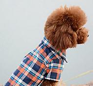 Недорогие -Собака Комбинезоны Одежда для собак В клетку Оранжевый Красный Синий Хлопок Костюм Для домашних животных Муж. Жен. На каждый день Мода