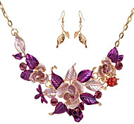 cheap -Women's Jewelry Set 1 Necklace 1 Pair of Earrings - Floral Flower Style Flowers Flower Purple Blue Vintage Necklace For Wedding Party