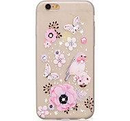 cheap -Case For Apple iPhone 7 Plus iPhone 7 Rhinestone Glow in the Dark IMD Transparent DIY Back Cover Butterfly Flower Animal Soft TPU for