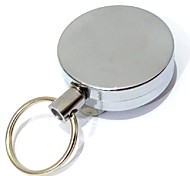 1PCS Retractable Metal Card Badge Holder Steel Recoil Ring Pull Belt Clip Key Chain Silver