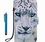 Case Cover Card Holder Wallet with Stand Flip Pattern Full Body Case With Stylus White leopard Hard PU Leather for Apple iPhone 7 Plus 7 6s Plus 6s 5s