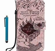 Para capa capa carteira carteira com suporte flip padrão caixa de corpo cheio com stylus vista da cidade couro duro para maçã iphone 7