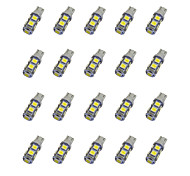 abordables -20pcs T10 Coche Bombillas 1.2W SMD 5050 85lm LED Luces interiores