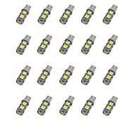 La luce bianca dc12v della lampadina dell'automobile di 20pcs t10 9 * 5050 smd ha condotto la luce bianca della lampadina dell'automobile