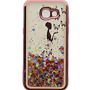 cheap -Case For Samsung Galaxy A5(2017) A3(2017) Plating Flowing Liquid Pattern Back Cover Butterfly Sexy Lady Glitter Shine Soft TPU for