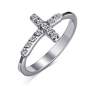 Women's Ring Crystal Basic Fashion Cross Personalized Euramerican Simple Style Costume Jewelry Stainless Steel Circle Round Cross