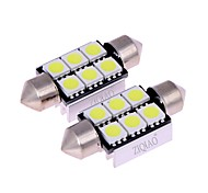 ZIQIAO White 39mm 5050 6 SMD LED C5W Car Led Auto Interior Dome Door Light Bulb Pathway lighting Work Lamp (12V/2PCS)