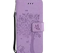 Недорогие -Кейс для Назначение SSamsung Galaxy S8 Plus S8 Кошелек Бумажник для карт со стендом Флип Рельефный С узором Чехол Кот дерево Твердый