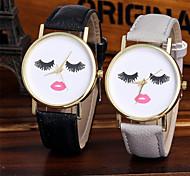 Недорогие -Жен. Кварцевый Уникальный творческий часы Наручные часы Китайский Цветной / Кожа Группа Блестящие На каждый день Мода Cool Черный Белый