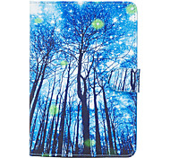 For Apple iPad Mini 4 3 2 1 Case Cover Blue Woods Pattern Painted Card Stent Wallet PU Skin Material Flat Protective Shell