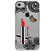 Недорогие -Для Чехлы панели Полупрозрачный Задняя крышка Кейс для Кружевной дизайн Соблазнительная девушка Мягкий TPU для AppleiPhone 7 Plus iPhone