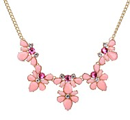 cheap -Women's Flower Crystal Statement Necklace  -  Unique Design Pink Light Blue Light Green Necklace For Party Daily Casual