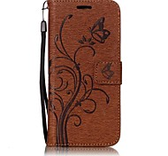 For Samsung Galaxy S8 Butterfly and Flower Embossed Pattern PU Leather Material Wallet Function Phone Case For S7 Edge S7
