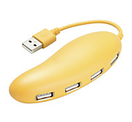 cheap -4 Ports USB 2.0 High Speed HUB Cute Yellow