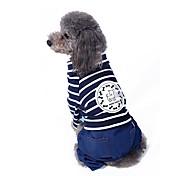 Gatti Cani Cappottini Tuta Pantalone Abbigliamento per cani Divertente Di tendenza Casual Righe Rosso Blu