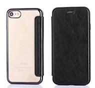 Недорогие -Для яблока iphone 7 плюс 7 держатель для карт памяти обшивка корпус полный корпус твердый цвет твердая кожа pu для apple iphone 6s plus 6