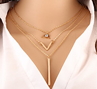 cheap -Women's Crystal Pendant Necklace Chain Necklace  -  Circular Unique Design Dangling Style Triangle Irregular Gold Necklace For Christmas