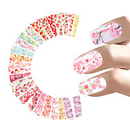 24 Sheets Nail Sticker Flower Water Decals Transfer Foil Rose Peony Sakura Floral Design Nail Wrap For Valentine's Day Nails Art Random style