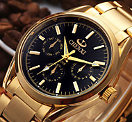 cheap -Men's Wrist Watch Japanese Calendar / date / day / Cool Stainless Steel Band Casual / Fashion Gold
