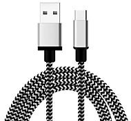 cheap -USB 2.0 Type-C USB Cable Adapter Braided Cable For Samsung Huawei LG Nokia Lenovo Motorola Xiaomi HTC Sony 100 cm Textile