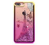 Недорогие -Кейс для Назначение Apple iPhone 7 Plus iPhone 7 Покрытие Движущаяся жидкость С узором Кейс на заднюю панель Сияние и блеск Эйфелева башня