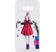 For Samsung Galaxy S8 Plus S8 Phone Case Red Skirt Girl Pattern Soft TPU Material Phone Case