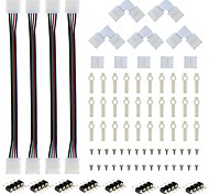 A set-4PCS RGB Strip Light Connector 4 Conductor 10 mm with 5PCS L Shape Solderless LED Connector 5PCS Gapless Connector 30 Lots Strip Light Mountin