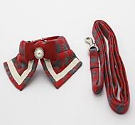 Dog Collar Leash Foldable Adjustable Plaid/Check Fabric Black Red