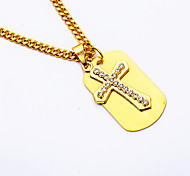 24K Gold Plated Men's Rhinestones Cross Gold Medal Pendant Necklaces