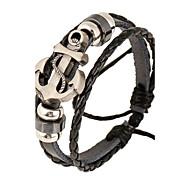 Недорогие -Муж. Кожа Кожаные браслеты - Природа Мода нерегулярный Черный Браслеты Назначение Особые случаи Подарок Спорт