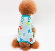 Gatto Cane T-shirt Felpa Tuta Pigiami Pantalone Abbigliamento per cani Casual Stelle Grigio Blu Rosa