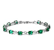 Women's Chain Bracelet Synthetic Emerald Natural Fashion Emerald Alloy Circle Jewelry For Wedding Party Birthday Event/Party