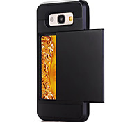 For Samsung Galaxy A3(2017) A5(2017) Case Cover Card Holder Back Cover Case Solid Color Hard PC For Samsung Galaxy A7(2017) A7(2016) A5(2016) A3(2016)
