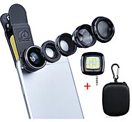 Apexel Deluxe Universal 5 in 1 Camera Lens Kit for iPhone 7 6/6s 6Plus/6s Plus Samsung Galaxy S7/S7 EdgeS6/S6 Edge Note 5 4-Fisheye Lens