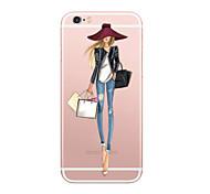 Недорогие -Назначение iPhone X iPhone 8 Чехлы панели Ультратонкий С узором Задняя крышка Кейс для Соблазнительная девушка Мягкий Термопластик для