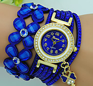 cheap -Women's Quartz Bracelet Watch Rhinestone Leather Band Flower Bohemian Black Blue Red Brown