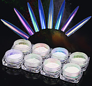 8box*0.2g/Bottle Neon Nail Glitter Powder Nail Art Holographic Gel Polish Chrome Pigment Manicure Dust Nail Art Decor1pc Brush