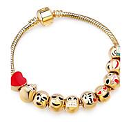 Women's Charm Bracelet Strand Bracelet Heart Friendship DIY Movie Jewelry Luxury Fashion Stretch Gold Plated Alloy Circle Round Geometric
