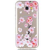 For Samsung Galaxy A5 A3 (2017) Case Cover Peach Blossom Pattern Relief Dijiao TPU Material High Through The Phone Case