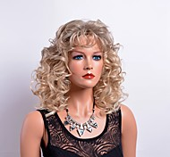 Curly Fashion Blonde Wig with Bang Elegant Trendy Hairstyle Daily Wearing Heat Resistant High Quality Wigs
