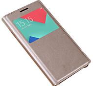 abordables -Funda Para Samsung Galaxy A5(2017) A3(2017) con Ventana Flip Funda de Cuerpo Entero Color sólido Dura Cuero de PU para A3 (2017) A5