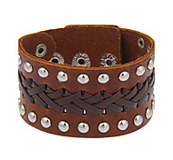 Women's Men's Leather Bracelet Jewelry Natural Gothic Handmade Fashion Vintage Bohemian Punk Rock leather Circle Geometric Jewelry For